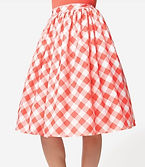 50s Style Coral Gingham Full Skirt.jpg