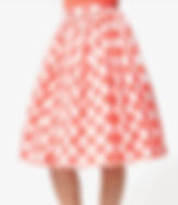 50s Style Coral Gingham Full Skirt.jpg