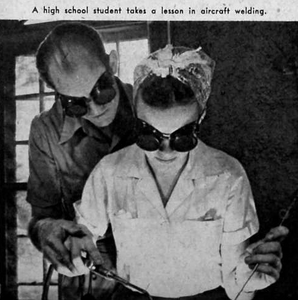 40s girl learning aircraft welding