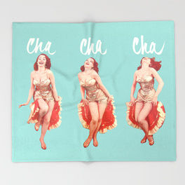 50s 60s dancing cha cha cha print throw blanket, 50s fad prints