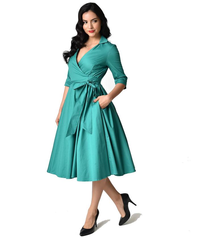 Emerald_Green_Taylor_Wrap_Swing_Dress wh