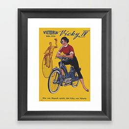 50s 60s bike poster, retro fads framed print