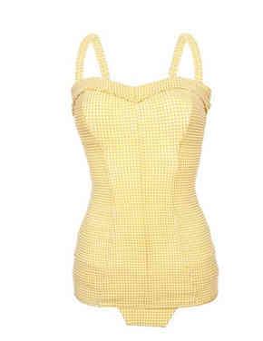 50s Retro Swimsuit Yellow One Piece