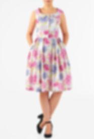 50s Style Peter Pan Collar Print Dress
