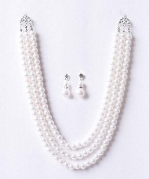 Triple Strand Pearl Necklace Set