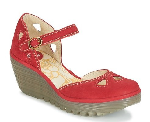 Retro Red 1940s Style Wedge Shoes