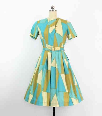 Genuine 50s Mid Mod Geometric Print Dress