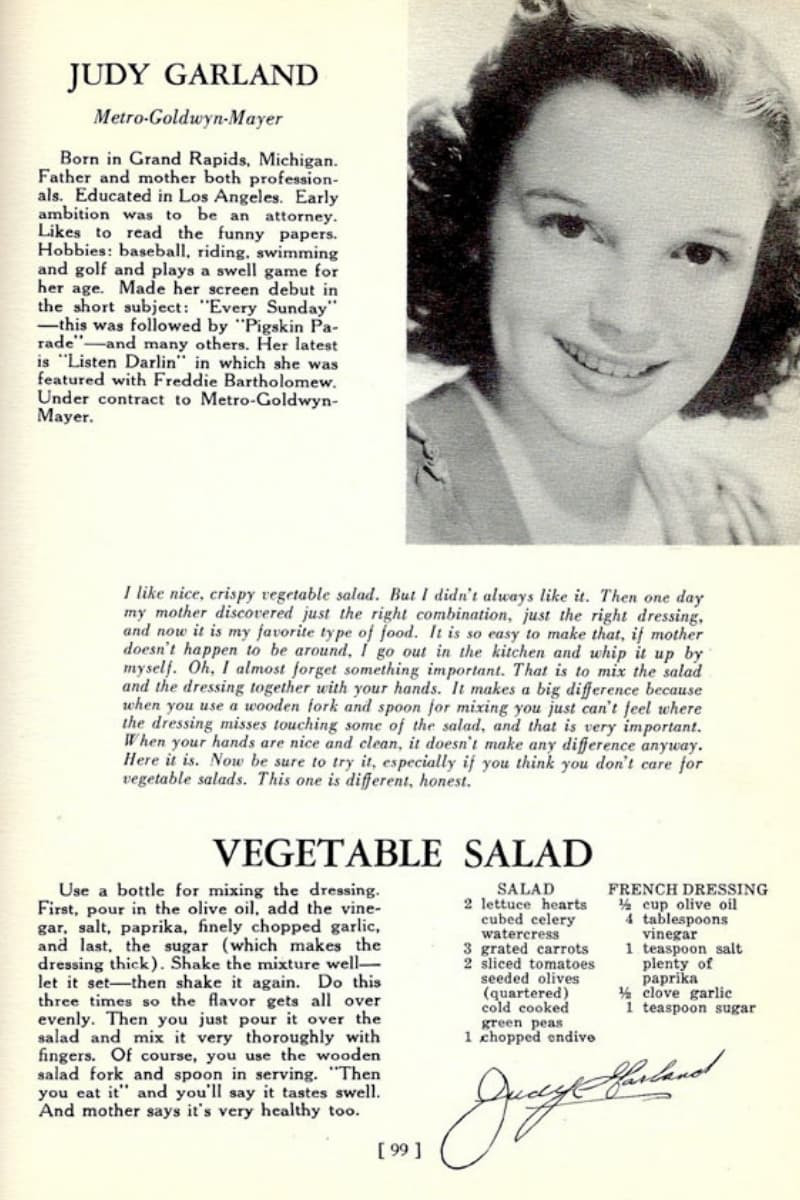 Judy Garland Veg Salad and French Dressing Recipe