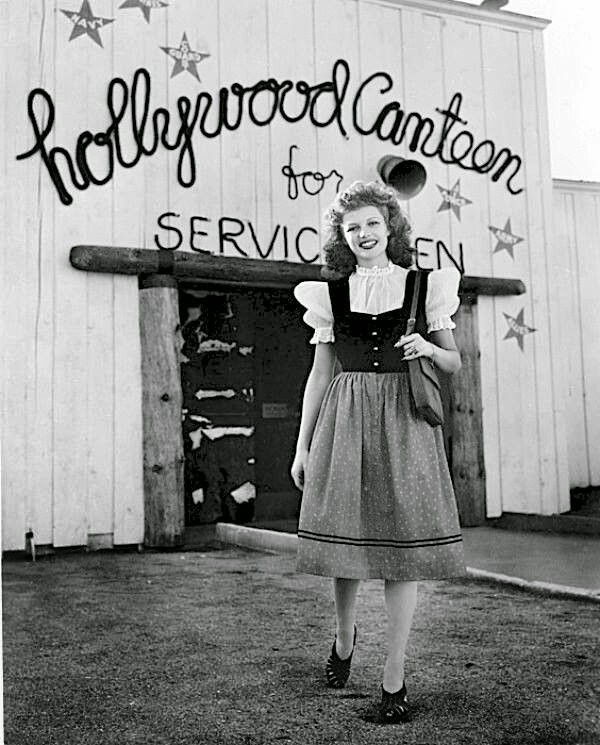 Rita Hayworth front of Hollywood Canteen