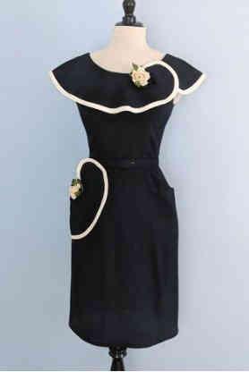 True Vintage Wiggle Dress with Trim