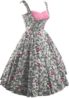 1950s Pink and Grey Roses Dress