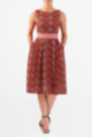 50s Style A line Dress in MCM Print