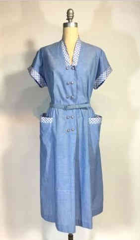 50s Blue Cotton Frock