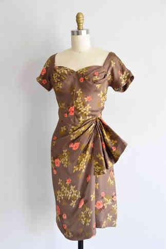 Genuine 1950s Brown Floral Wiggle Dress.