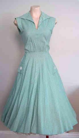 Genuine 50s Circle Skirt Blue Dress