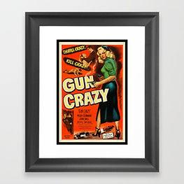 Vintage gun crazy movie poster framed print
