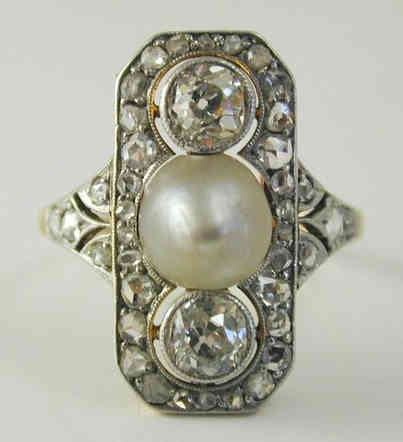 Vintage Pearl and Diamond Platinum Ring