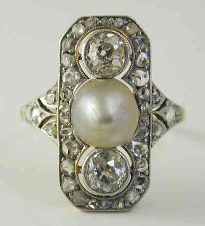 Vintage Pearl and Diamond Platinum Ring