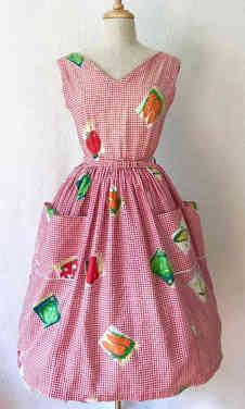 True Vintage 50s Novelty Print Dress