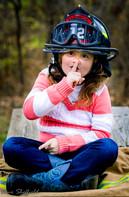 Girl in Firefighter Helmet