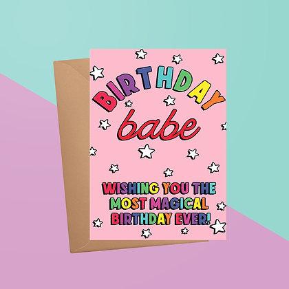 Birthday Babe Rainbow Birthday Card