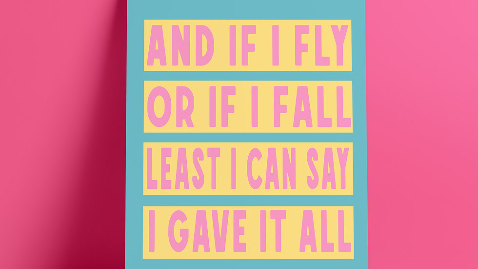 And If I Fly Or If I Fall A4 Art Print