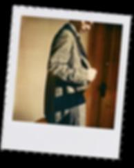 Polaroid photo of Loren checking suit pocket