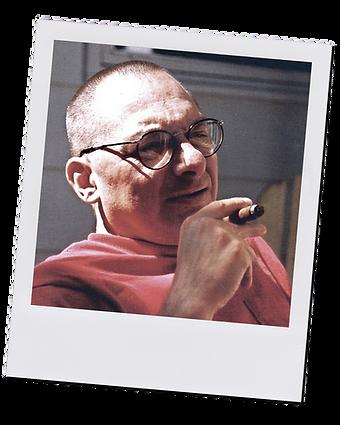 Polaroid photo of Loren with cigar