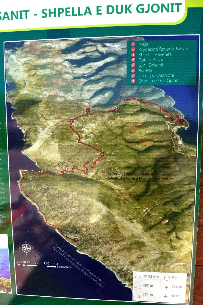 "Карта маршрута: Пашалиман - бухта Brisani - пищера ""Duk Gjonit"""
