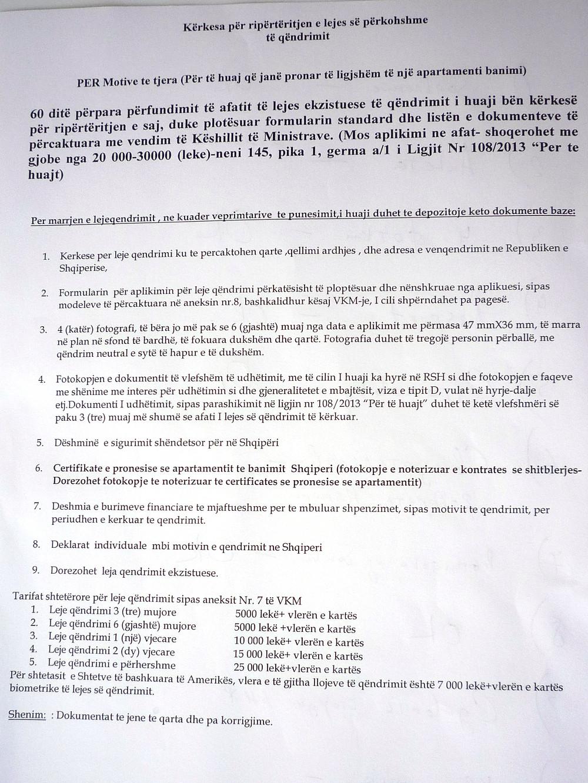Список документов на продление ВНЖ (Албания)