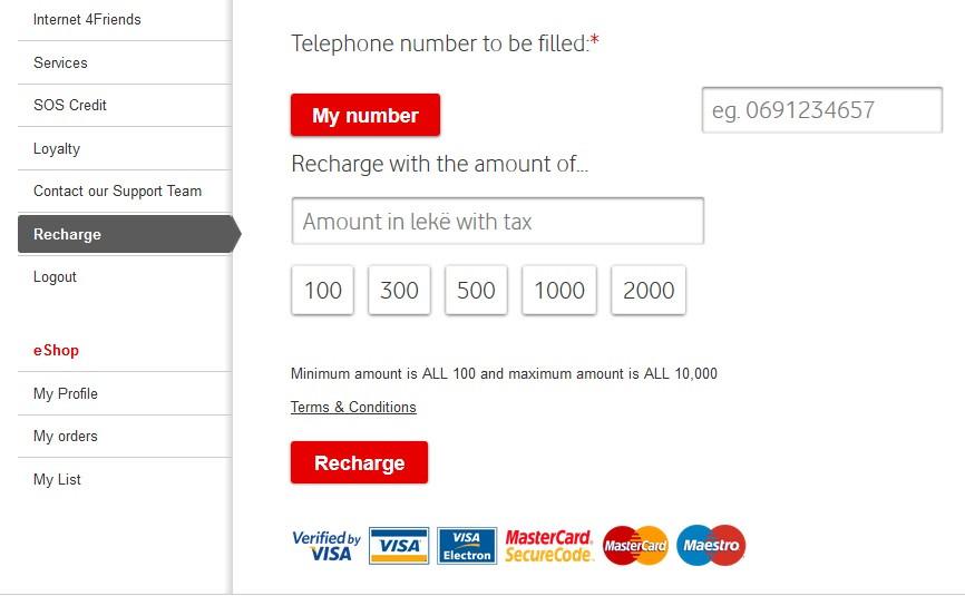 Оплата Vodafone (Albania)