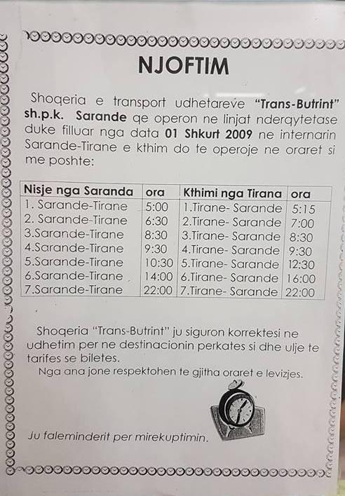 Расписание автобусов между Тираной и Сарандой