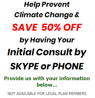 Brandow Law offers 50% off initial consultation fees if done by telephone or video Skype.