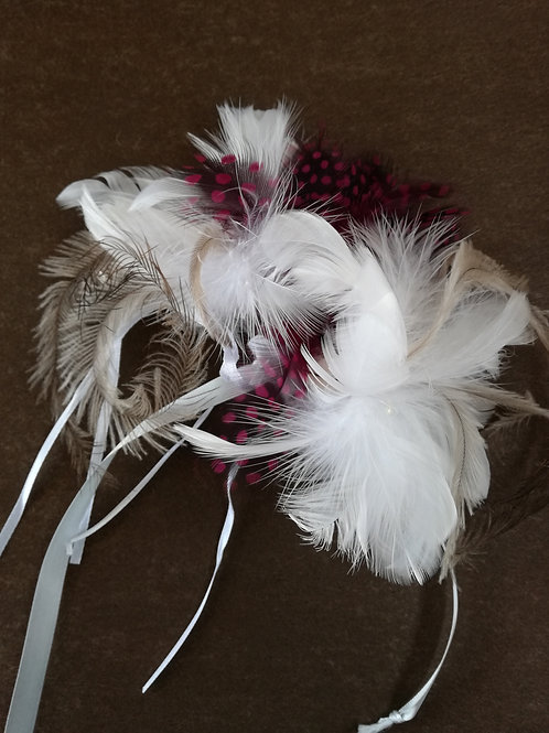 Blush feather corsage