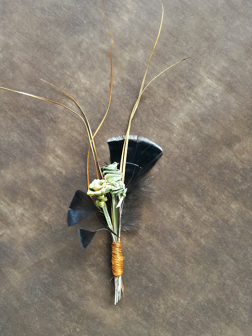 Flax rose boutonniere/button hole