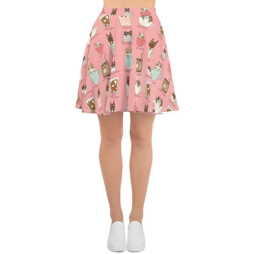 Coffee Cats Peachie Pink Skater Skirt