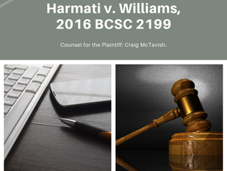 Recent Judgment for Harmati v. Williams, 2016 BCSC 2199