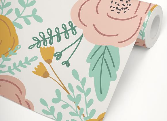 Papel de Parede Blooming Rosa& Mostarda