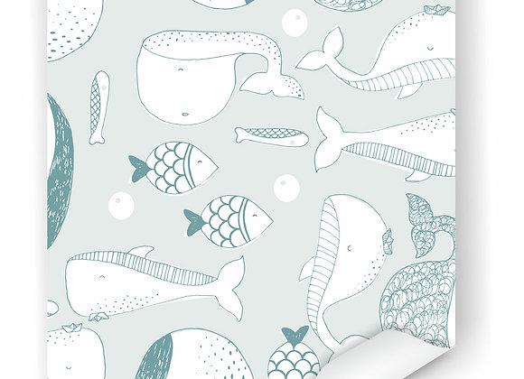 Papel de parede Baleias - menta