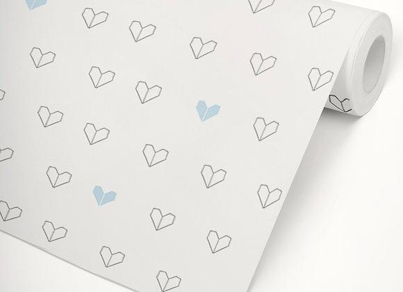 Papel de Parede Coração Origami azul