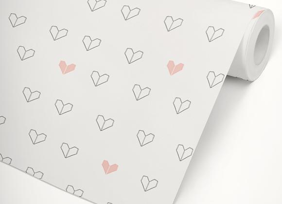 Papel de Parede Coração Origami rosa