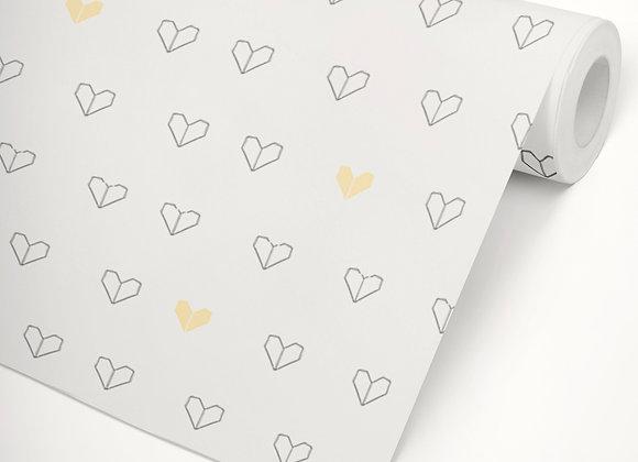 Papel de Parede Coração Origami amarelo