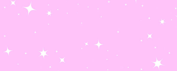 Pink background with flickering white stars.
