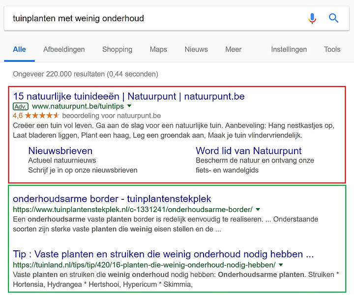 Organische zoekresultaten en advertenties in Google
