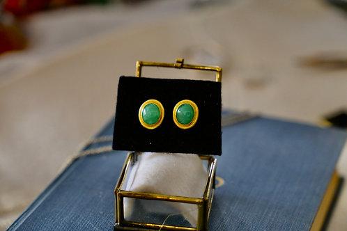 Ohrringe aus 750er Gelbgold und 999er Feingold   mit kleinen Jade Steinen