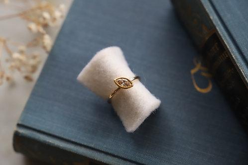 Ring aus Gelbgold und Feingold mit Champagner Diamanten