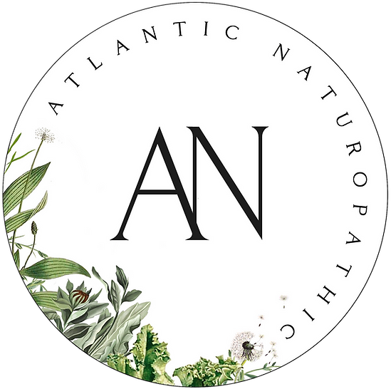 Atlantic Naturopathic, LLC of Red Bank, New Jersey logo with medicinal herbs and healthy food