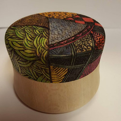 A Sycamore box turned, burned and painte