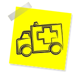yellow post it with an ambulance for life insurance