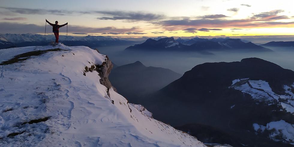 Coucher de soleil à ski